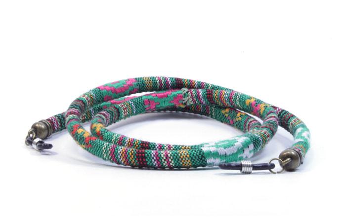 Cordón para gafas étnico redondo verde  d79b9188d77
