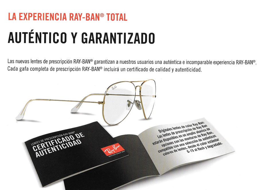Certificado de autenticidad de las gafas Ray Ban